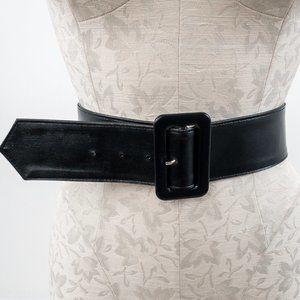 Vintage M Wide Leather Square Buckle Belt Black